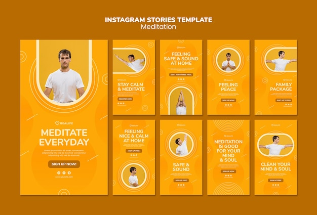 Meditation instagram stories template