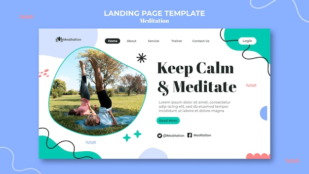 瞑想のランディングページテンプレート