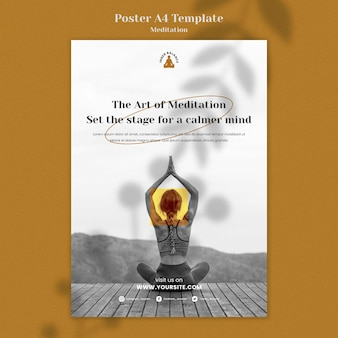 Modello di stampa verticale stile di vita di meditazione