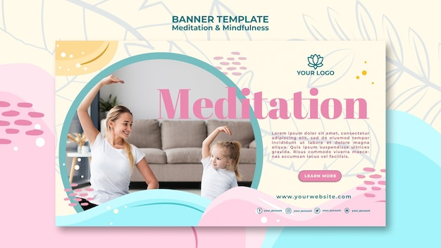 Meditation and mindfulness banner design