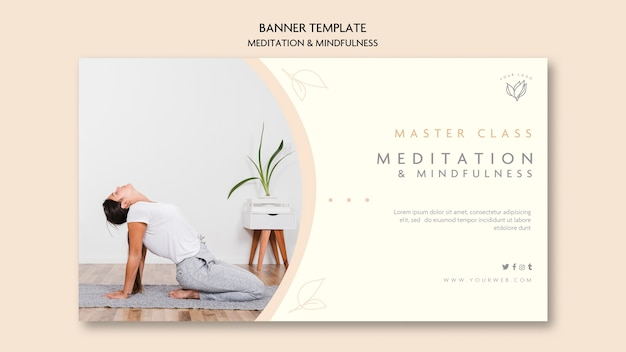 Meditation and mindfulness banner template