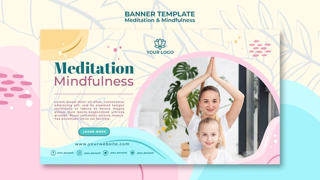 Meditation and mindfulness banner theme