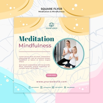 Meditation and mindfulness flyer concept