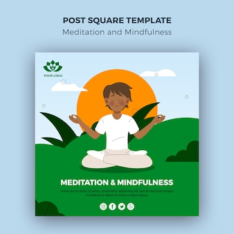 Meditation and mindfulness post square template