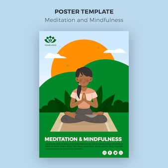 Meditation and mindfulness poste template
