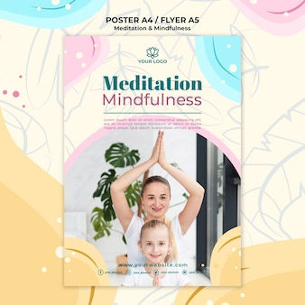 Meditation and mindfulness poster concept