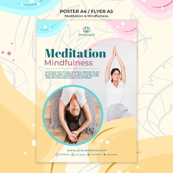 Meditation and mindfulness poster theme