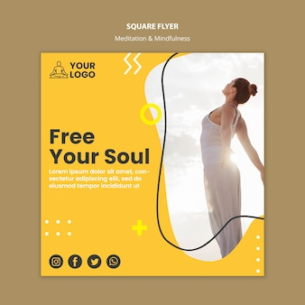 Meditation & mindfulness square flyer template