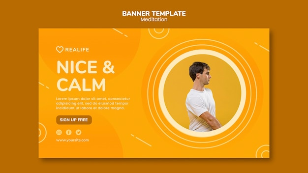 Meditation nice and calm banner template