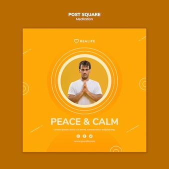 Meditation peace and calm post square