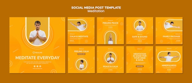 Meditation social media post template