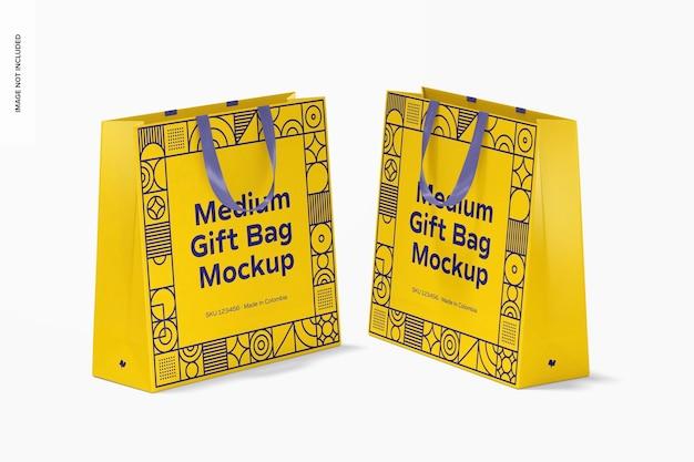 リボン ハンドル モックアップ付きミディアム ギフト バッグ