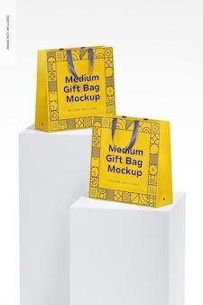 Средние подарочные пакеты с ленточной ручкой, макет