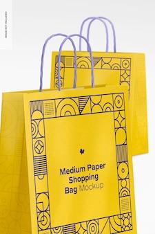 Средний макет бумажной хозяйственной сумки, крупным планом