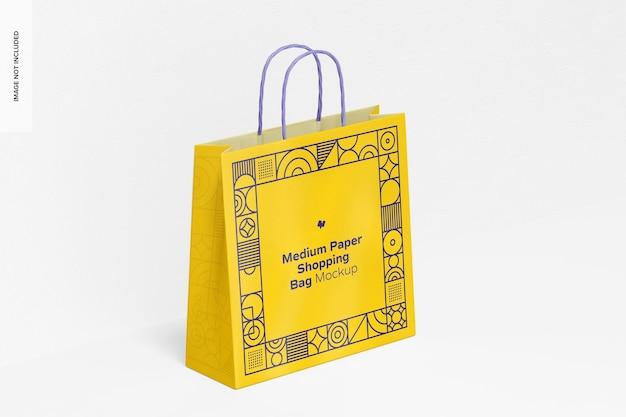 Мокап бумажной хозяйственной сумки среднего размера