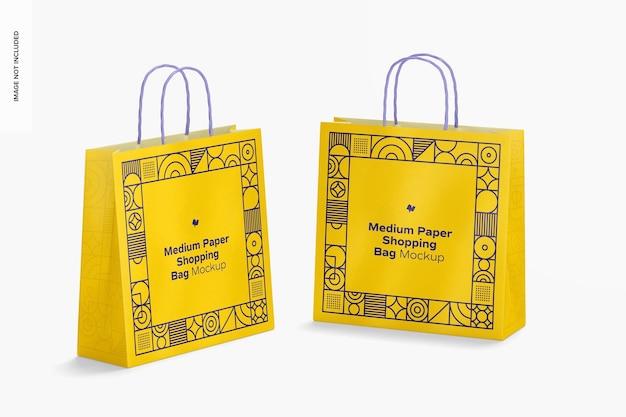 Средние бумажные сумки для покупок, макет, перспектива