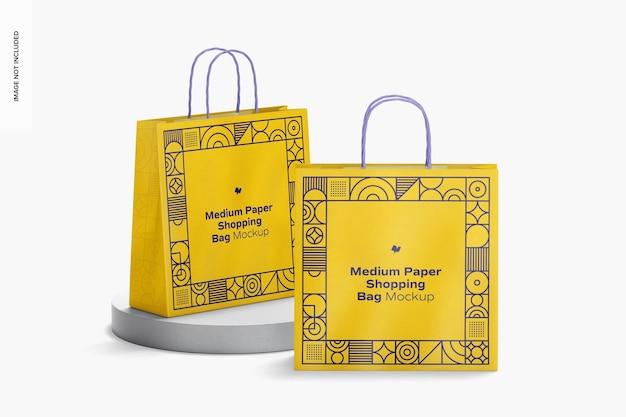 Medium paper shopping bags mockup