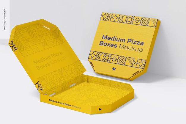Средний макет коробки для пиццы, вид в перспективе