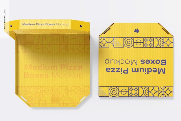 Мокап средних коробок для пиццы, открытые и закрытые