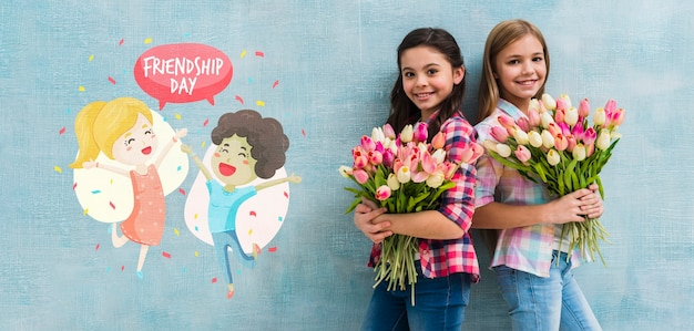 Medium shot girls holding bouquets of flowers mock-up