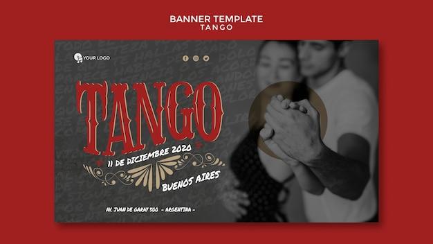 Medium shot tango dancers banner web template
