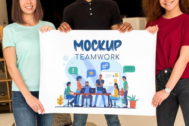 Medium shot of teamwork mock-up