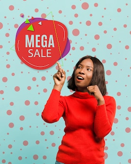 Medium shot woman promoting mega sale