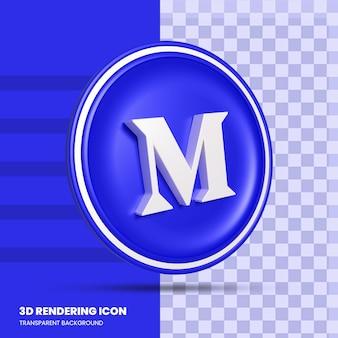 중간 소셜 미디어 3d 렌더링 아이콘