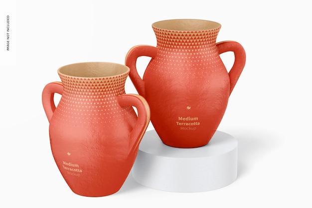 Средние терракотовые вазы с ручками мокап, вид спереди