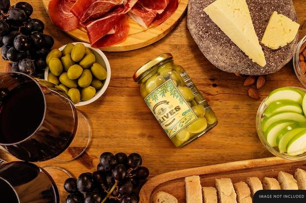 Medium whole olives jar mockup on table