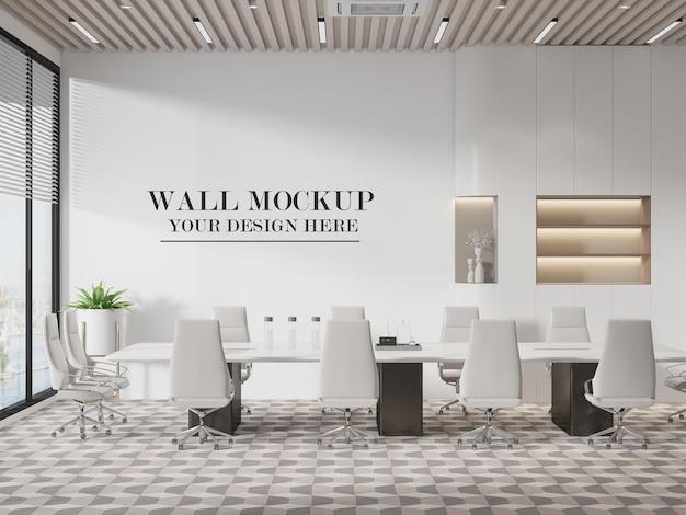 Meeting room wall mockup in 3d rendering