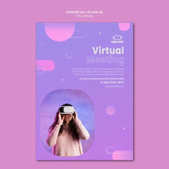 Meeting on virtual reality poster template