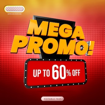 Mega promo banner 3d render premium psd