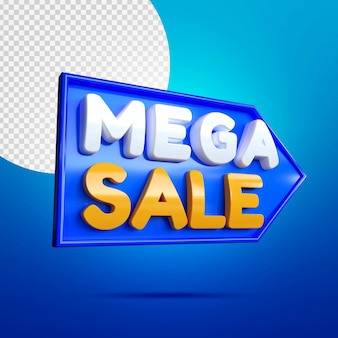 Mega sale3dバナーモックアップ青で分離