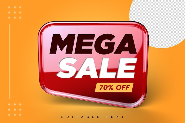 Mega sale 3d banner with isolated