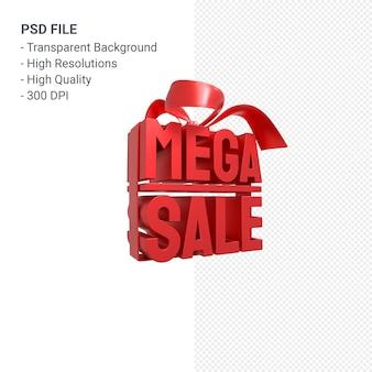 Мега распродажа 3d дизайн-рендеринг для продвижения продажи с бантом и лентой