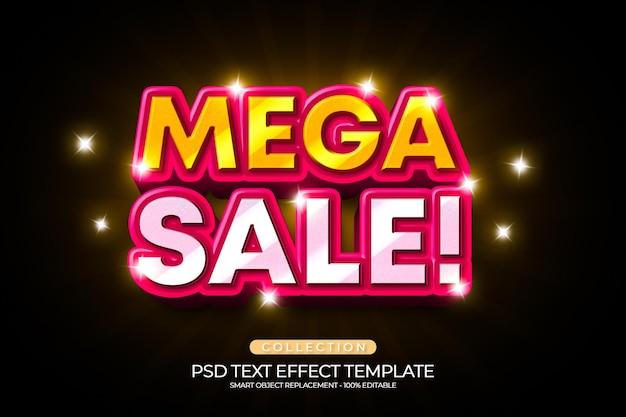 Mega sale 3d text effect template shiny gold texture color
