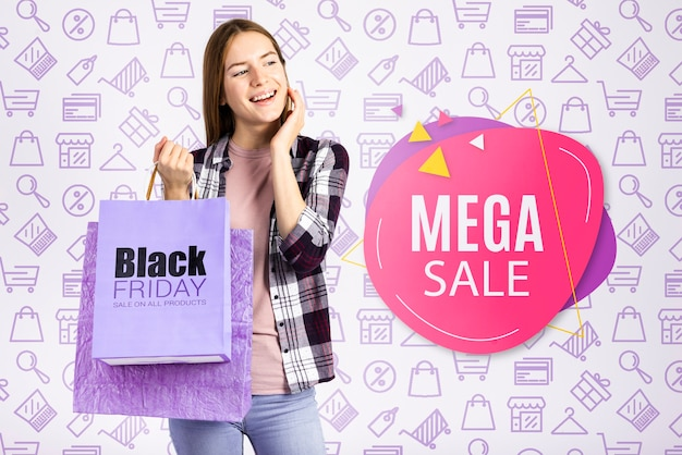Mega sale banner with beautiful woman