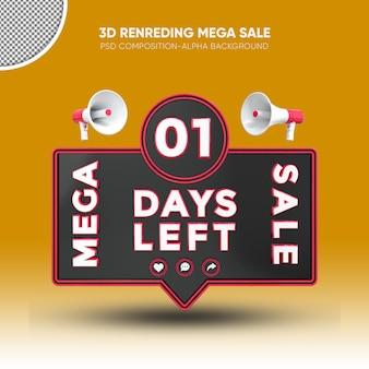 Mega sale black and red 3d rendering design on 01 days left