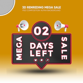 Mega sale black and red 3d rendering design on 02 days left
