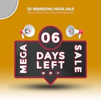 Mega sale black and red 3d rendering design on 06 days left