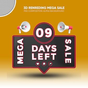 Mega sale black and red 3d rendering design on 09 days left