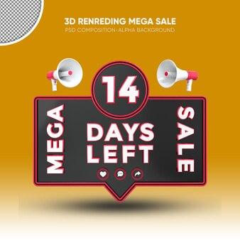 Mega sale black and red 3d rendering design on 14 days left
