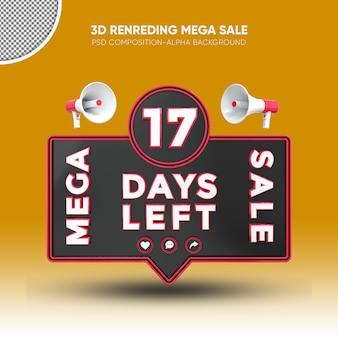 Mega sale black and red 3d rendering design on 17 days left