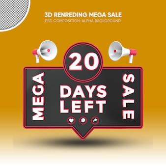 Mega sale black and red 3d rendering design on 20 days left