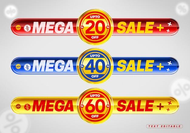 Мега распродажа красочный 3d блестящий значок со скидкой 20%, 40% и 60% Premium Psd