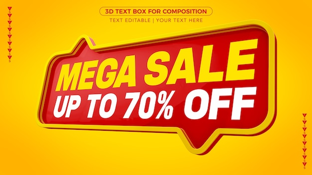 Mega sale d text box with discount in 3d rendering