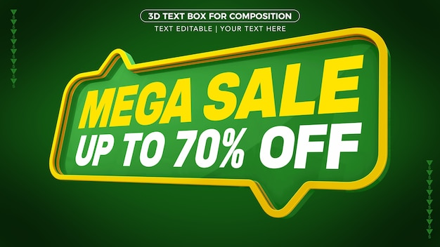Mega sale green text box with up to discount