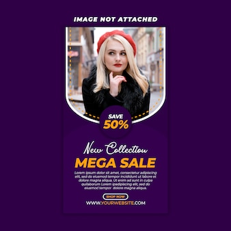 Mega sale instagram social media template premium psd