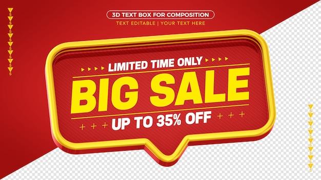 Красная и желтая 3d-коробка mega sale со скидкой до 35%